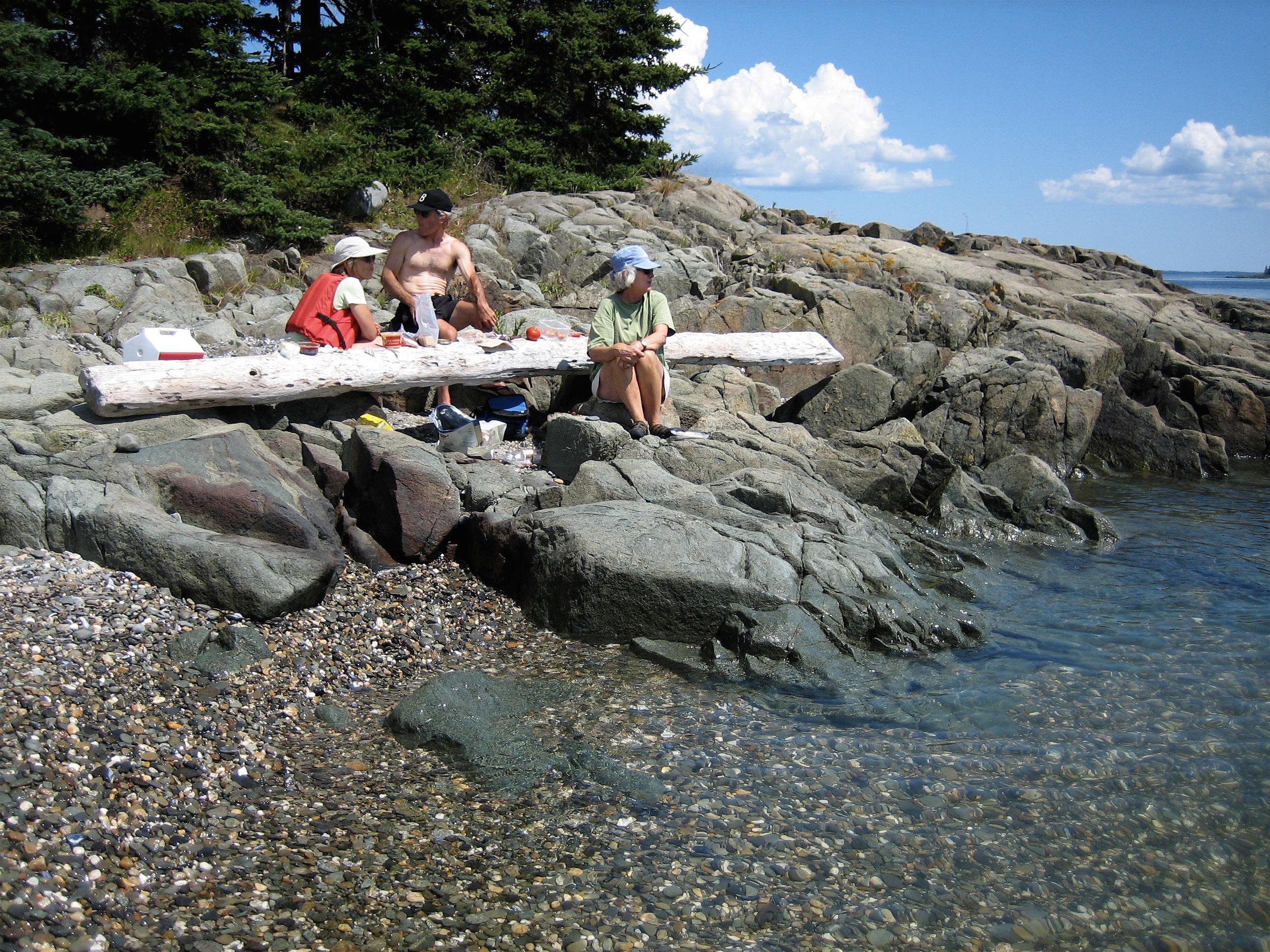 Hiram Blake Camp, Harborside, Maine | Island picnic