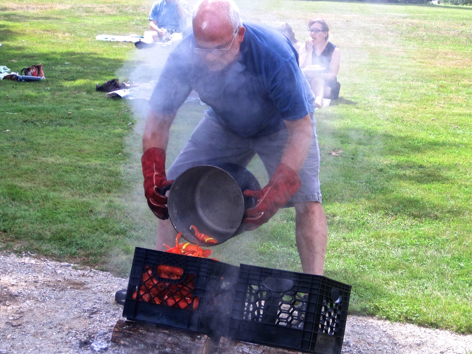 Hiram Blake Camp, Harborside, Maine   Lobster Boil